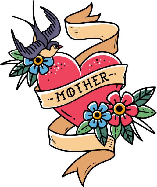 illustrations, cliparts, dessins animés et icônes de coeur tatouage isolé rouge avec ruban, hirondelle, fleurs et mot mère. illustration vectorielle pour la fête des mères. old school - tatouages