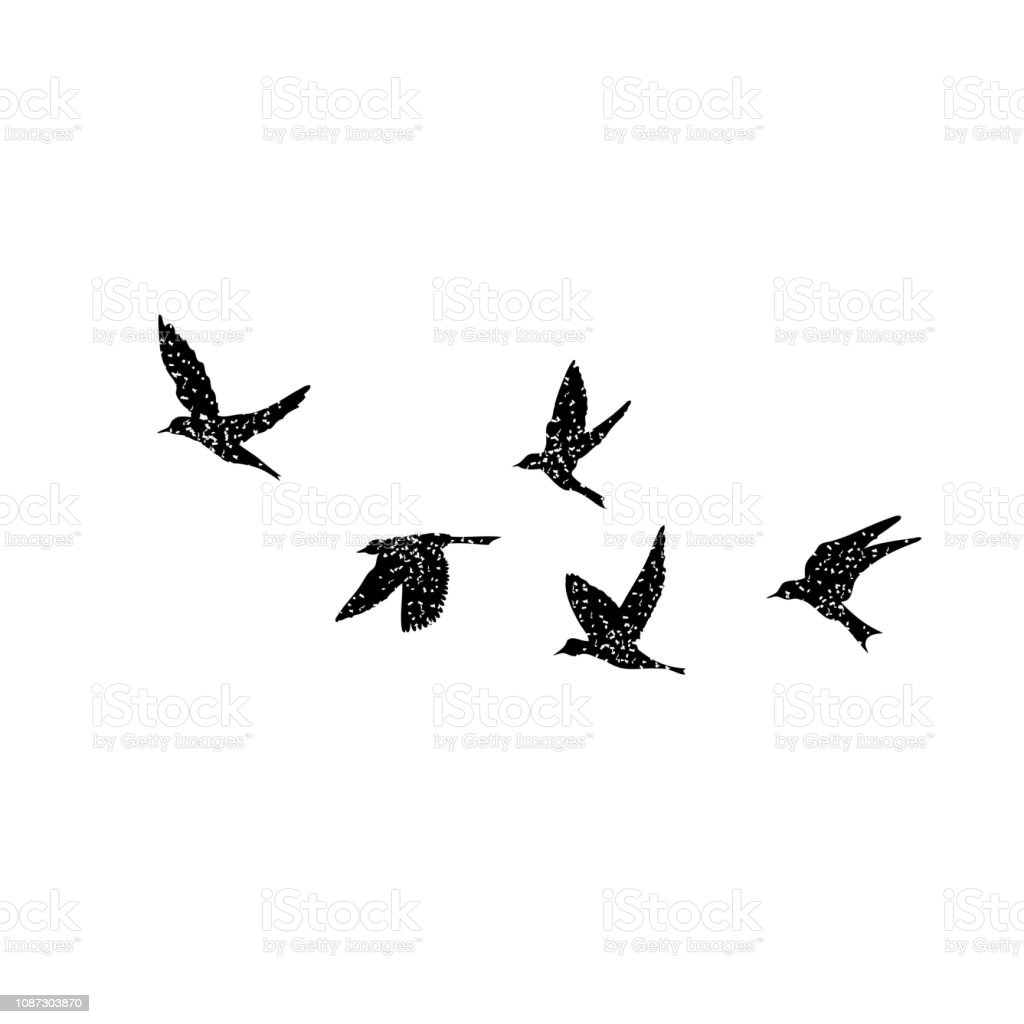 Isolated textured stipple silhouette of birds flock in the air Inspirational body flash tattoo ink. Vector. vector art illustration