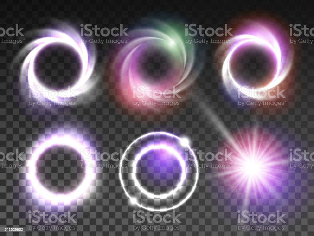 Isolated transparent glowing light effects set vector art illustration