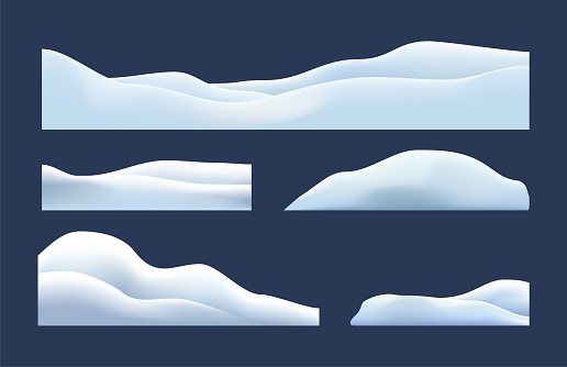Isolated, transparent of snow caps, pile, icicles, ice, snowball and snowdrift. Winter decorations, Christmas, snow texture, white elements, holiday vector snow. Vector collection.