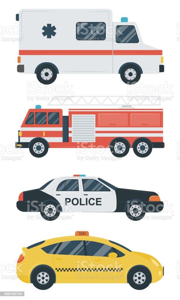 Ilustración de Iconos De Transporte Aislado Coche Taxi Ambulancia ...