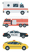 Isolated transport icons. Police car, ambulance, firetruck, taxi. Flat design. Vector illustration