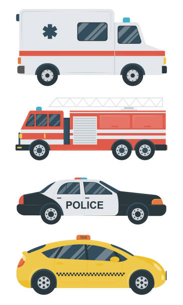 Isolated transport icons. Police car, ambulance, firetruck, taxi. Flat design. Vector Isolated transport icons. Police car, ambulance, firetruck, taxi. Flat design. Vector illustration fire engine stock illustrations