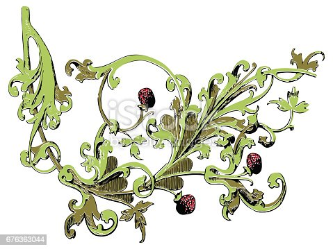 Ilustración de Decoración De árbol Aislado Fresa Impresión Baya ...