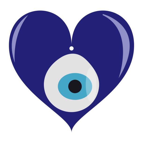 Isolated Turkish evil eye amulet in a heart shape. vector art illustration