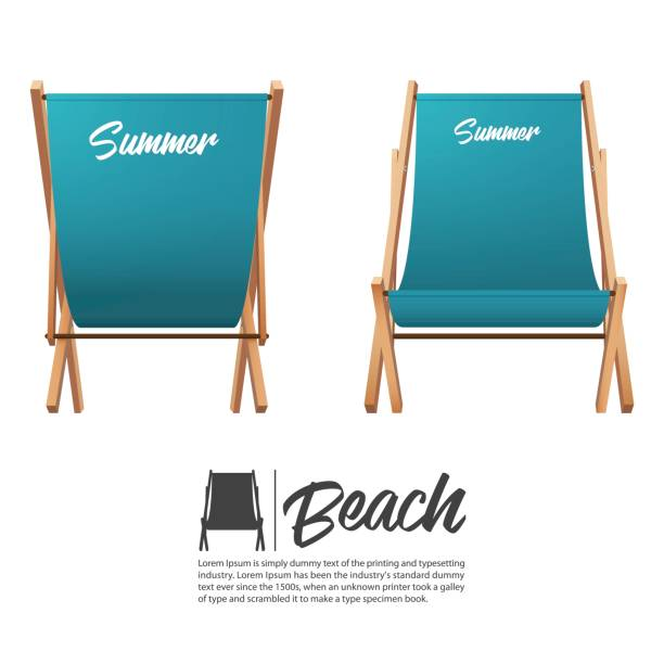 Isolated two turquoise summer beach chair in front and back view. Isolated two turquoise summer beach chair in front and back view. Vector Illustration. outdoor chair stock illustrations