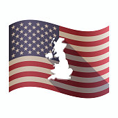 Isolated  USA flag with  a map of the UK
