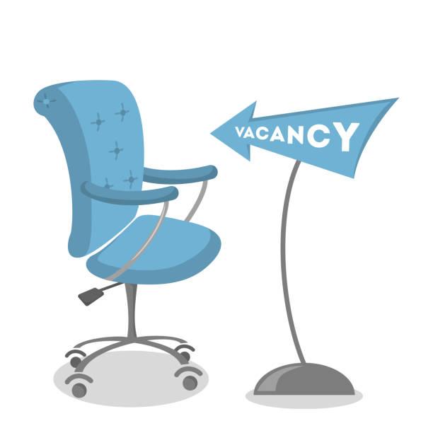 isolierte vakanten stuhl mit blauen zeiger. - stuhllehnen stock-grafiken, -clipart, -cartoons und -symbole