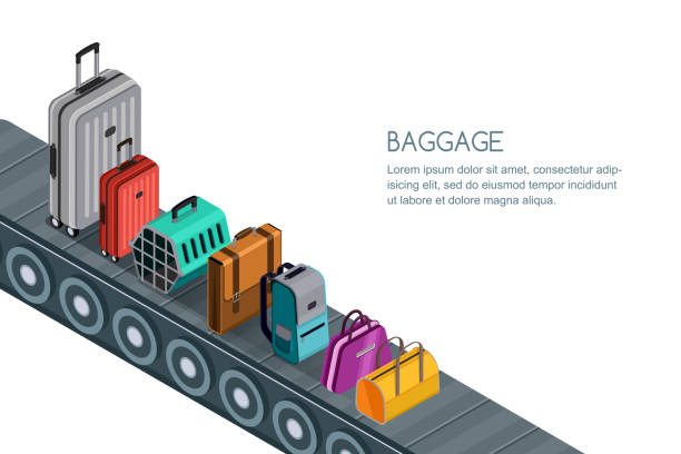 Isolated vector 3d isometric illustration of conveyor belt with luggage, suitcases, bags. Concept for checked baggage vector art illustration
