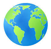 Isolated vector beautiful icon with stylized earth