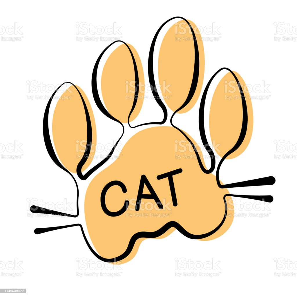 Isolated vector cat paw print on white background