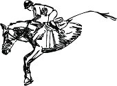 Isolated Vector Drawing of Horse and Rider Jumping