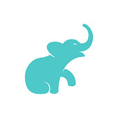 istock Isolated vector elephant calf. Mammoth calf flat sign on a white background. 1205457027