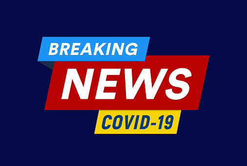 COVID-19 isolated vector emblem and background, coronavirus inforgraphic headline for medical breaking news web graphic, poster and banner.