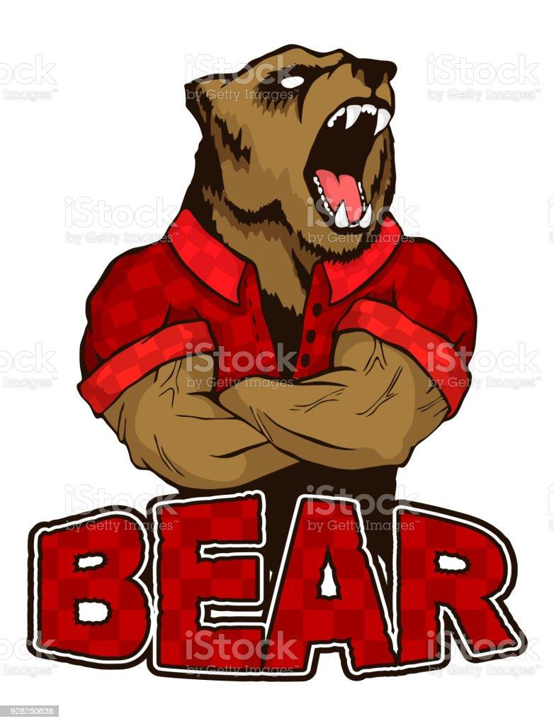 isolated vector illustration a strong wild bear man logo stock rh istockphoto com