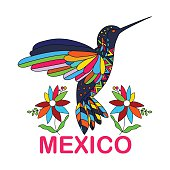 Isolated vector image of Mexican bird. Hummingbirds. Traditional