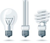 Isolated Vector Light Bulbs