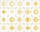 Vector templates with  gold and white mandala. Geometric  template set.  Grunge paper card with gold floral circular pattern