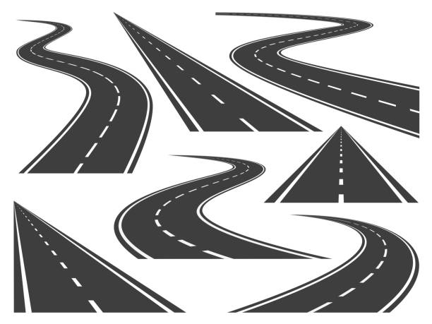 Isolated vector pictures of pathway, different roads and long highway Isolated vector pictures of pathway, different roads and long highway road stock illustrations