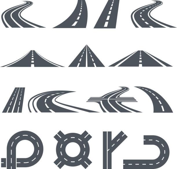 ilustraciones, imágenes clip art, dibujos animados e iconos de stock de vector aislado fotos de vía, caminos diferentes y larga carretera - vía