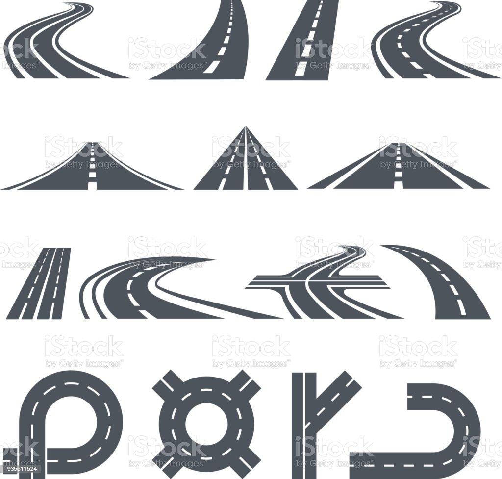 Vector aislado fotos de vía, caminos diferentes y larga carretera - ilustración de arte vectorial