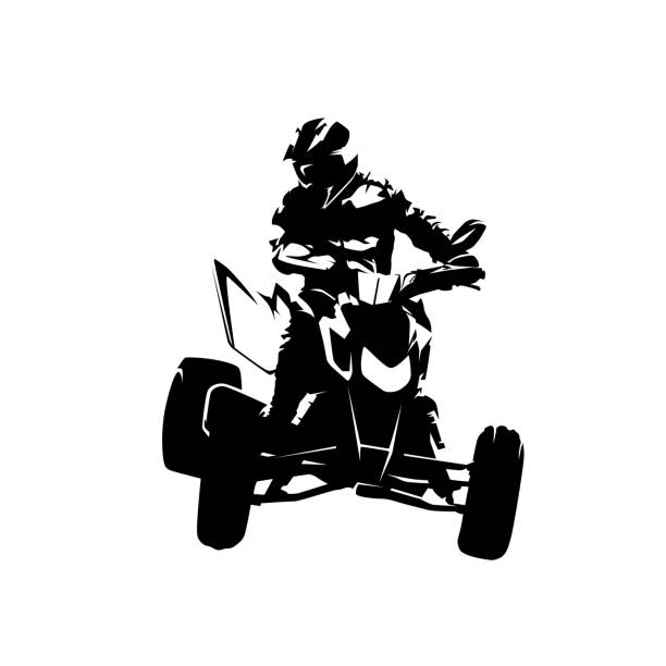 ATV isolated vector silhouette. Ink drawing, front view ATV isolated vector silhouette. Ink drawing, front view quadbike stock illustrations