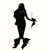 Isolated vector silhouette of mermaid, water nymph, naiad