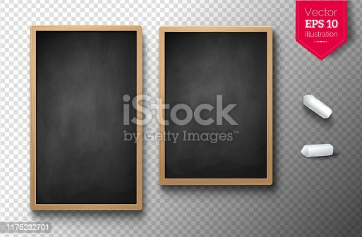 Vector illustration set of two isolated vertical menu boards with chalk pieces on transparency background.