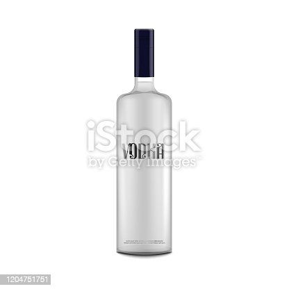 Isolated vodka bottle mockup with text label - alcohol drink packaging template on white background. Realistic glass bottle with black unopened cap - vector illustration