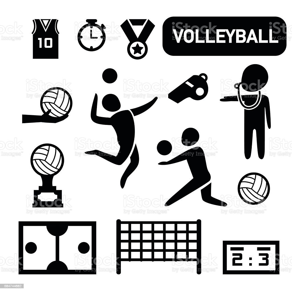 isolated volleyball icon vector art illustration