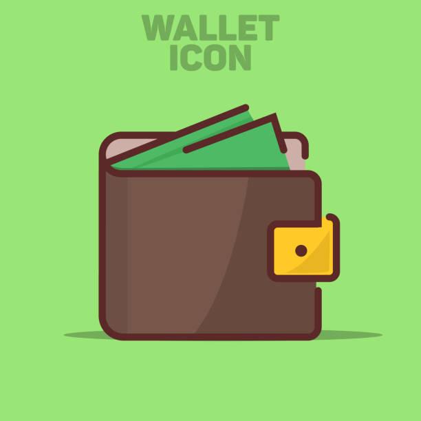Isolated Wallet Icon Vector Illustration Green Background vector art illustration