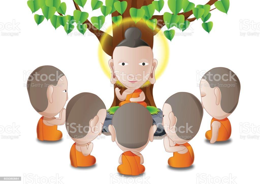 fondo blanco aislado los cinco ascetas se convirtieron en seguidores de la Buddha.good para usar en el día importante del budismo - ilustración de arte vectorial