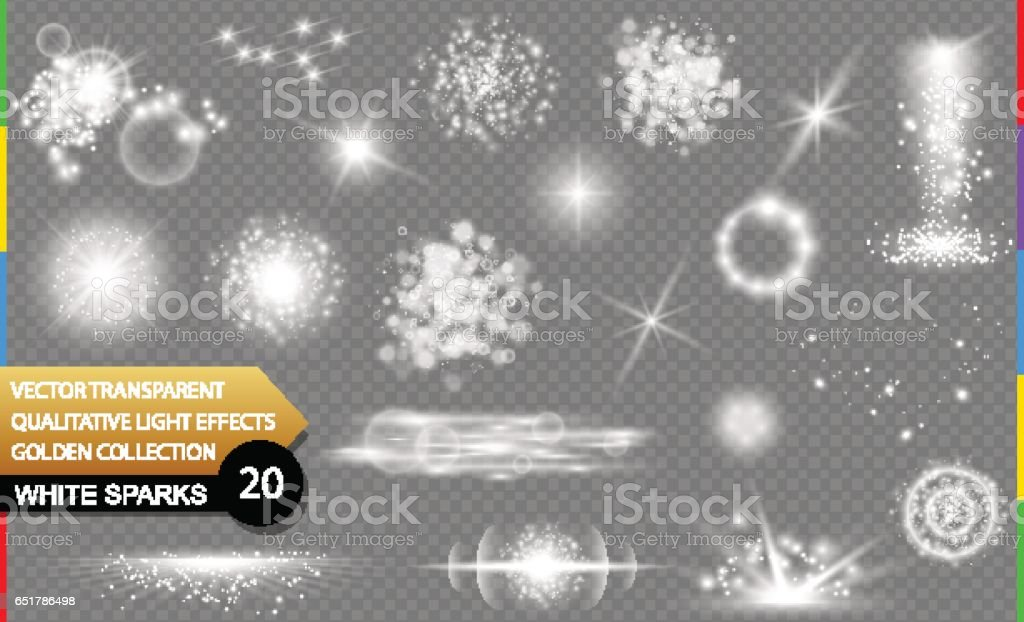 Isolated white sparks. Glow transparent vector light effect set, lens flare, explosion, glitter, spark, sun flash, and star burst. Abstract translucent special element design. Shine sparkling round vector art illustration