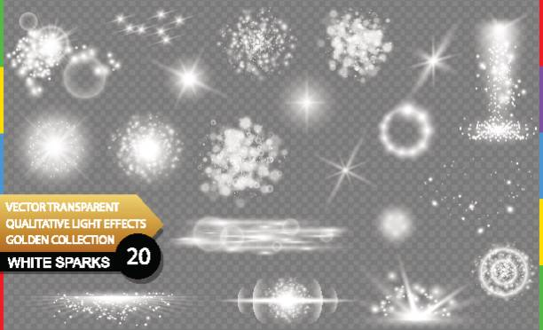 isolated white sparks. glow transparent vector light effect set, lens flare, explosion, glitter, spark, sun flash, and star burst. abstract translucent special element design. shine sparkling round - световой эффект stock illustrations