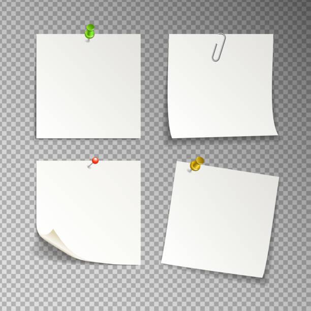 격리 된 흰 스티커 메모, 벡터 일러스트 레이 션 - 클립 문구류 stock illustrations