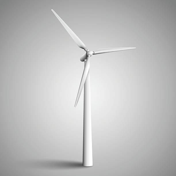 isolated wind turbine - rüzgar değirmeni stock illustrations