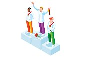 Winner podium with winter sport man athlete. Vector 3D isometric icon.