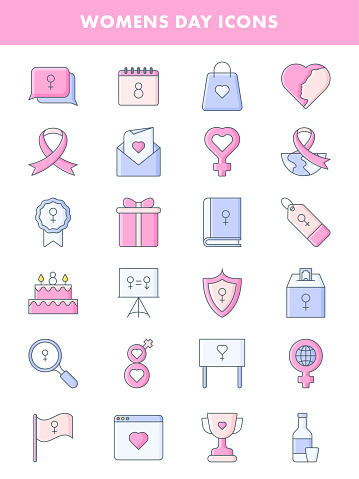 Isolated Women's Day Set Icon in Blue And Pink Color Flat Style.