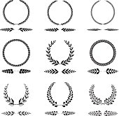 A set of different type of wreaths isolated on white background. Eps8.