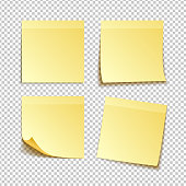 isolated yellow sticky notes, vector illustration