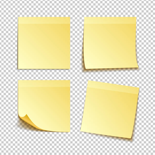 isolated yellow sticky notes, vector illustration - post it notes stock illustrations