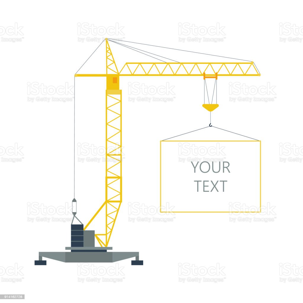 Isolated Yellow Tower Hoisting Crane With Frame Border With Space ...