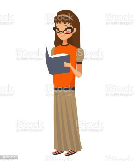 Vetores de Isolado Caucasiana Jovem Lendo Uma Ilustração Vetorial Do Livro Um Adolescente A Usar Óculos Uma Blusa Laranja E Uma Saia Longa Taupe Sobre Um Fundo Branco e mais imagens de Adolescente