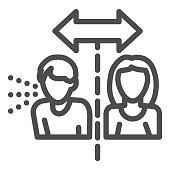 Isolation cautions line icon. Avoid contact with Covid-19 sick outline style pictogram on white background. Coronavirus social distance for mobile concept and web design. Vector graphics