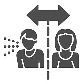 Isolation cautions solid icon. Avoid contact with Covid-19 sick glyph style pictogram on white background. Coronavirus social distance for mobile concept and web design. Vector graphics