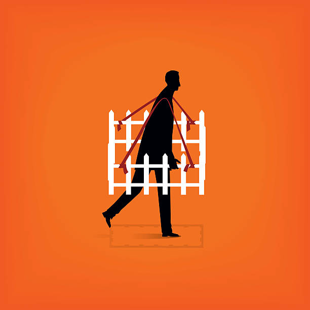 Isolation Solitary man protects his personal space. detach stock illustrations