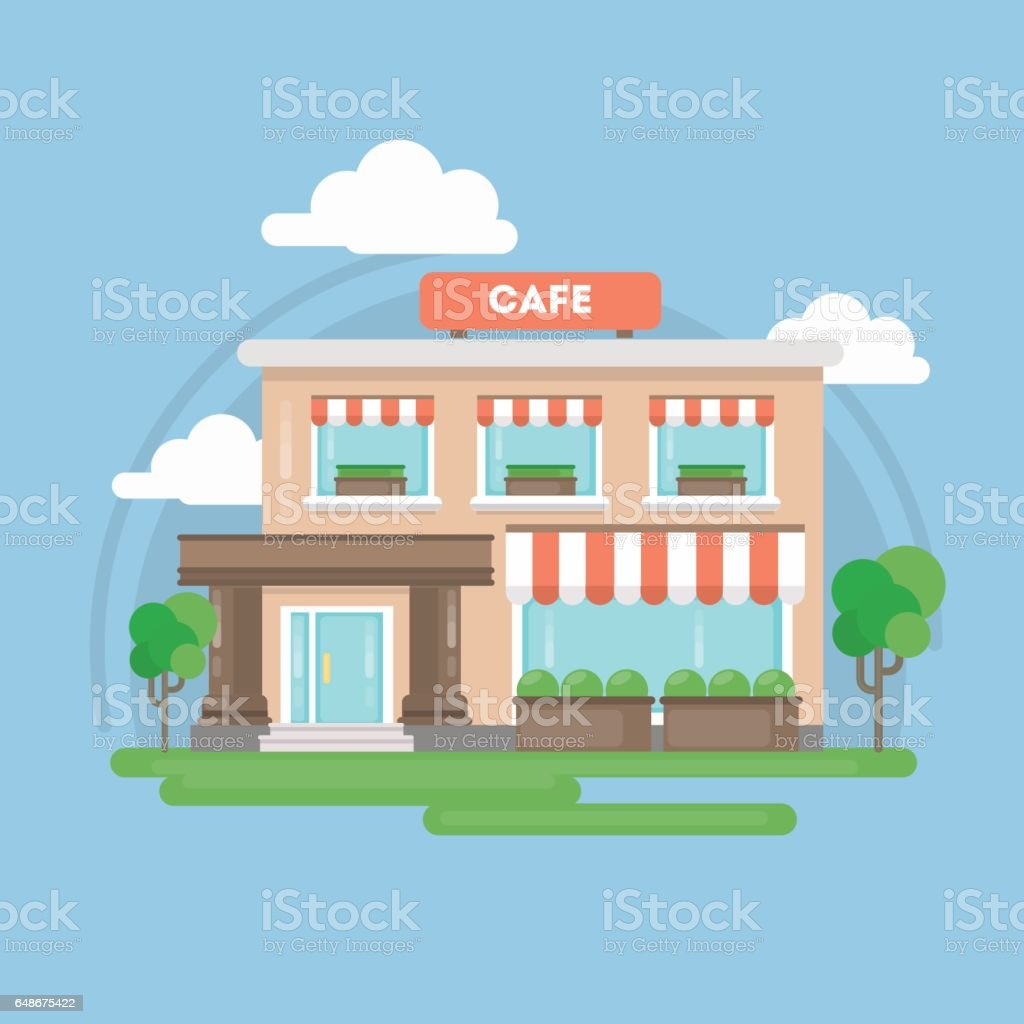 Isolted cafe building. vector art illustration