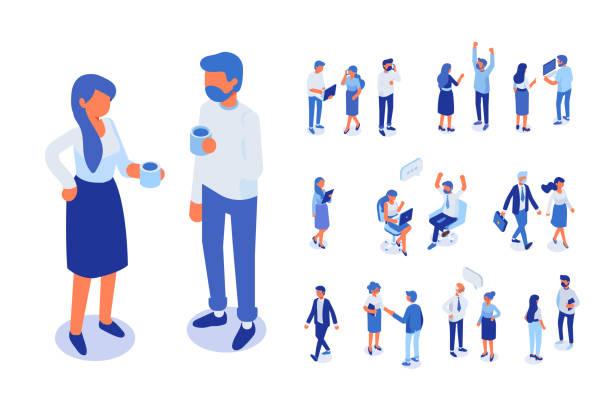 ilustrações, clipart, desenhos animados e ícones de pessoas de negócios isoméricos vector conjunto. homens e mulheres. - mobile