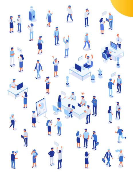 ilustraciones, imágenes clip art, dibujos animados e iconos de stock de gente de oficina isomérica vector conjunto. vida de oficina. - proyección isométrica