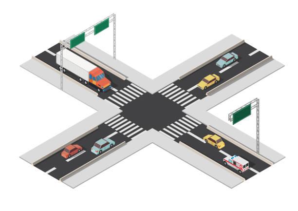 ilustraciones, imágenes clip art, dibujos animados e iconos de stock de indicaciones isomertic ciudad intersección vector ilustración. - señalización vial